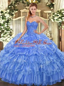 Deluxe Sweetheart Sleeveless Quinceanera Gown Floor Length Beading and Ruffled Layers and Pick Ups Baby Blue Organza
