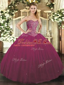 Fuchsia Quinceanera Gowns Military Ball and Sweet 16 and Quinceanera with Beading Sweetheart Sleeveless Lace Up
