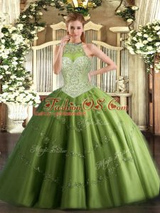 Olive Green Halter Top Neckline Beading and Appliques Quinceanera Gowns Sleeveless Lace Up