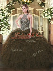 Modern Olive Green Ball Gowns Beading and Ruffles Quinceanera Dresses Lace Up Organza Sleeveless Floor Length