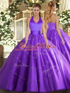 Purple Tulle Lace Up Halter Top Sleeveless Floor Length Sweet 16 Quinceanera Dress Appliques