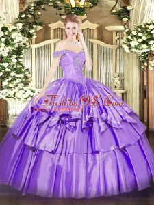 Classical Lavender Ball Gowns Organza and Taffeta Off The Shoulder Sleeveless Beading and Ruffled Layers Floor Length Lace Up 15 Quinceanera Dress