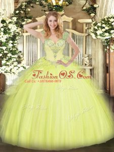 High End Yellow Green Ball Gowns Tulle V-neck Sleeveless Beading and Ruffles Floor Length Lace Up Quinceanera Gowns