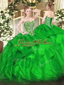 Green Lace Up Quinceanera Dresses Beading and Ruffles Sleeveless Floor Length