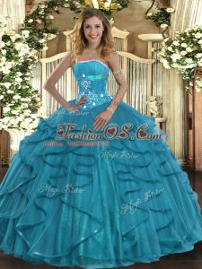 Discount Floor Length Teal Quinceanera Gowns Strapless Sleeveless Lace Up