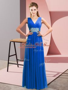 Sleeveless Beading and Ruching Lace Up Teens Party Dress