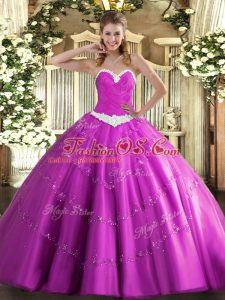 Graceful Sweetheart Sleeveless Lace Up Quinceanera Dresses Fuchsia Tulle