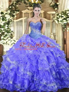 Organza Sweetheart Sleeveless Lace Up Beading and Ruffled Layers Quinceanera Gown in Blue