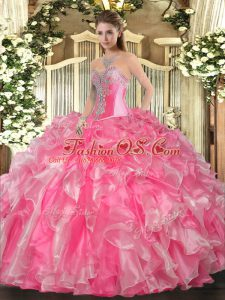 Fashionable Rose Pink Sweetheart Neckline Beading and Ruffles Quinceanera Dress Sleeveless Lace Up