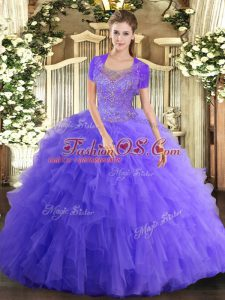 Perfect Floor Length Lavender Quinceanera Gown Scoop Sleeveless Clasp Handle
