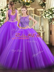 Fabulous Eggplant Purple Lace Up Scoop Beading Quinceanera Dresses Tulle Sleeveless