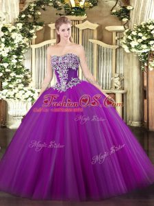 Purple Strapless Lace Up Beading Quinceanera Dresses Sleeveless