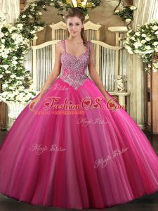 Ball Gowns Sweet 16 Dresses Hot Pink V-neck Tulle Sleeveless Floor Length Lace Up