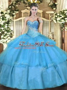 Modest Tulle Sweetheart Sleeveless Lace Up Beading and Ruffled Layers Ball Gown Prom Dress in Aqua Blue