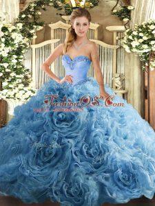 Beading Sweet 16 Dress Aqua Blue Lace Up Sleeveless Floor Length