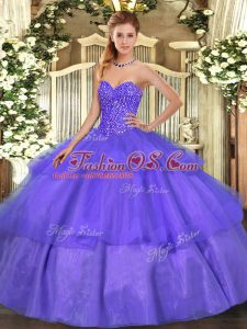 Custom Fit Lavender Ball Gowns Sweetheart Sleeveless Tulle Floor Length Lace Up Beading and Ruffled Layers Quinceanera Gowns