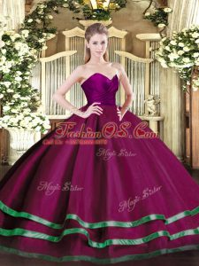 Ruffled Layers Quince Ball Gowns Fuchsia Zipper Sleeveless Floor Length