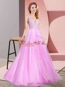 Elegant Lilac Tulle Zipper Custom Made Sleeveless Floor Length Lace