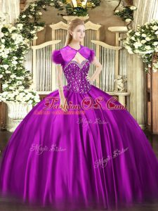 Best Floor Length Fuchsia Sweet 16 Dress Sweetheart Sleeveless Lace Up