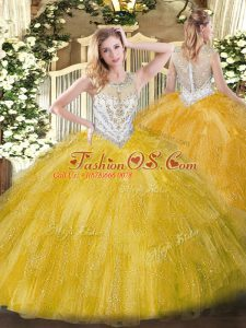 Elegant Scoop Sleeveless Quinceanera Gown Floor Length Beading and Ruffles Gold Tulle