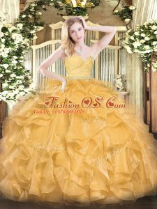 Floor Length Zipper 15th Birthday Dress Gold for Military Ball and Sweet 16 and Quinceanera with Beading and Lace and Ruffles