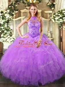 Inexpensive Ball Gowns Quinceanera Dresses Lavender Halter Top Organza Sleeveless Floor Length Lace Up