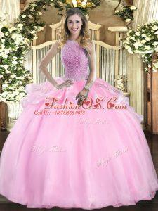 Fantastic Pink High-neck Neckline Beading Sweet 16 Dresses Sleeveless Lace Up