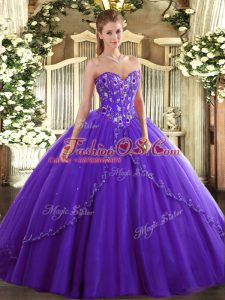 Best Purple Lace Up Sweetheart Appliques and Embroidery Quinceanera Dress Tulle Sleeveless Brush Train