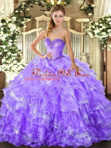 Lavender Sweetheart Lace Up Beading and Ruffled Layers Quinceanera Gowns Sleeveless