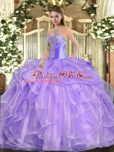 Organza Sleeveless Floor Length Sweet 16 Quinceanera Dress and Beading and Ruffles