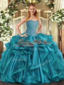 Gorgeous Beading and Ruffles Quinceanera Dresses Teal Lace Up Sleeveless Floor Length