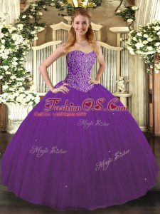 Fitting Sleeveless Tulle Floor Length Lace Up Sweet 16 Dresses in Purple with Beading