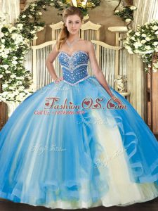 Enchanting Sweetheart Sleeveless Quinceanera Gowns Floor Length Beading and Ruffles Baby Blue Tulle
