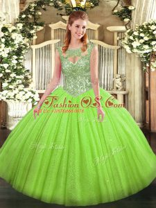 Traditional Ball Gowns 15 Quinceanera Dress Scoop Tulle Sleeveless Floor Length Lace Up