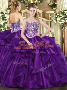Purple Sleeveless Beading and Ruffles Floor Length Quinceanera Dress