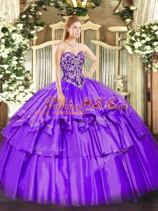 Purple Ball Gown Prom Dress Military Ball and Sweet 16 and Quinceanera with Beading and Ruffled Layers Sweetheart Sleeveless Lace Up