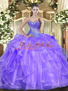 Glittering Lavender Lace Up Sweetheart Beading and Ruffles Ball Gown Prom Dress Organza Sleeveless