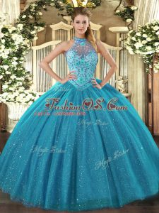 Teal Tulle Lace Up Sweet 16 Dress Sleeveless Floor Length Beading and Embroidery