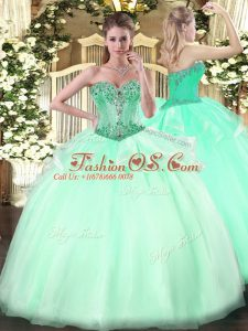 Adorable Apple Green Lace Up Sweetheart Beading Quinceanera Dress Organza Sleeveless