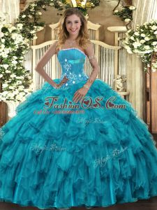 Graceful Strapless Sleeveless Organza Ball Gown Prom Dress Beading and Ruffles Lace Up