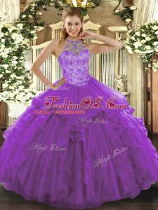 Luxurious Halter Top Sleeveless Organza Quinceanera Gowns Beading and Embroidery Lace Up