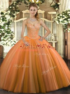 Orange Red Lace Up Quinceanera Dress Beading Sleeveless Floor Length