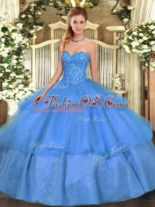 Deluxe Tulle Sleeveless Floor Length 15 Quinceanera Dress and Beading and Ruffled Layers
