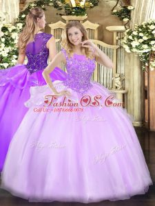 Sexy Sleeveless Floor Length Beading Zipper Quinceanera Gowns with Lilac