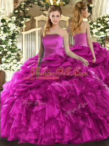 Fuchsia Organza Lace Up Strapless Sleeveless Floor Length Quinceanera Gown Ruffles and Pick Ups