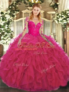 Lace and Ruffles Quinceanera Gown Hot Pink Lace Up Long Sleeves Floor Length