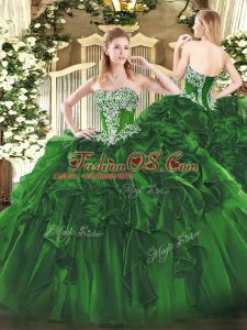 Super Dark Green Organza Lace Up Sweet 16 Dress Sleeveless Floor Length Beading and Ruffles