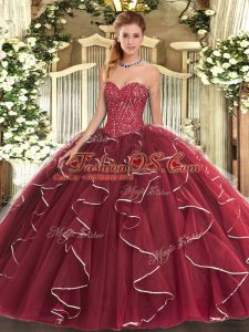 Most Popular Beading and Ruffles Vestidos de Quinceanera Burgundy Lace Up Sleeveless Floor Length