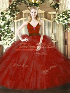 Ball Gowns Sweet 16 Quinceanera Dress Wine Red Straps Tulle Sleeveless Floor Length Zipper