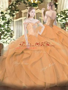 Clearance Sleeveless Lace Up Floor Length Beading and Ruffles Sweet 16 Quinceanera Dress